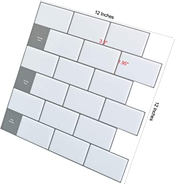 "Art3d 12""x12"" Peel and Stick Backsplash Tile Subway Sticker White for Kitchen (10-Sheet)"