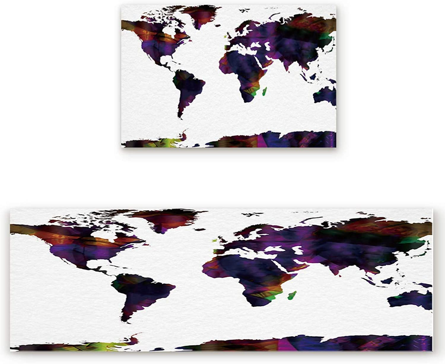 Savannan 2 Piece Non-Slip Kitchen Bathroom Entrance Mat Absorbent Durable Floor Doormat Runner Rug Set - World Map in Watercolor