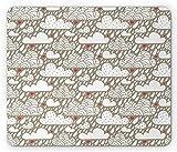 Alfombrilla para mouse romántica, Ilustración de Doodle de día lluvioso con nubes Gotas de lluvia y corazones que caen Arte de romance, Alfombrilla de ratón de goma antideslizante de tamaño estándar,