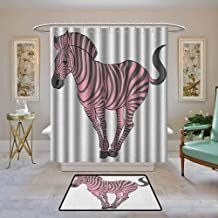 Kenneth Camilla01 Polyester Shower Curtain, Pink Zebra,Naturalistic Baby Zebra in Funny Pose Zoo Wild Horse Kids Childish Theme, Pale Pink Dimgrey,Shower Curtains Set with 12 Hooks 55