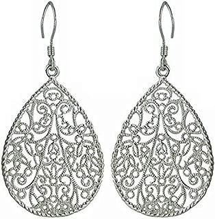 Sterling Silver Filigree Teardrop Earrings – 100% Hypoallergenic & Allergy Free Jewelry