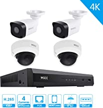 WGCC 8 Channel 1080P Home Security Cameras System 1080P 8CH HDMI NVR with 4 4MP Color Night Vision Indoor Outdoor Cameras