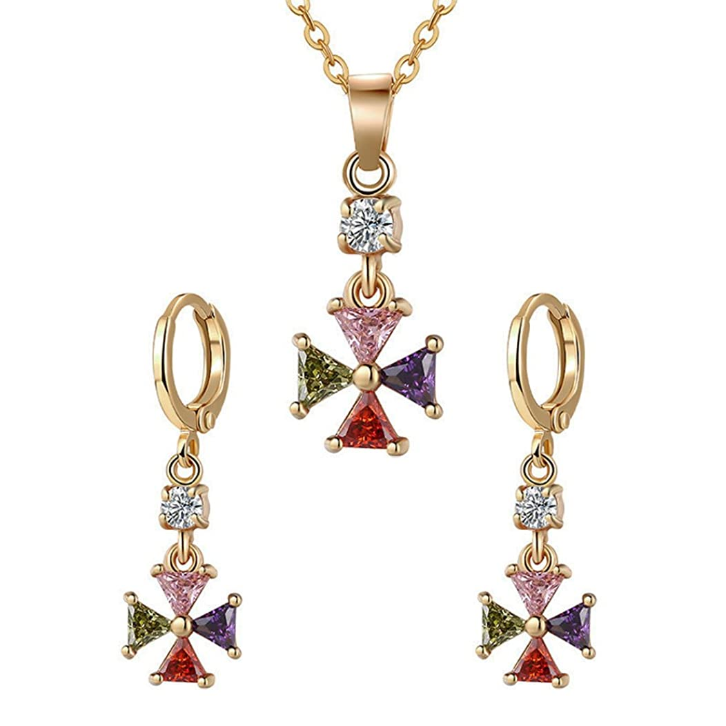 OCARLY Multicolor Cubic Zirconia Bridal Jewelry Set Crystal Necklace hinged Earrings Earstuds - RAINBOW
