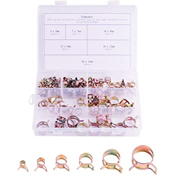 Eowpower 120Pcs Spring Clips Fuel Hose Line Water Pipe Air Tube Clamps Fasteners Assortment Kit(5/7/10/12/16/20mm)