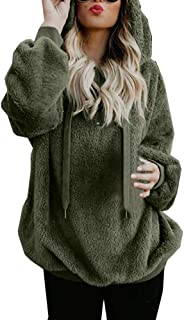 Women's Plush Hoodie Solid Color Long Fleece Coat with Drawstring, JMETRIE Zipped Collar Outwear