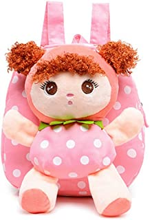 Swesy Kids Toddler Baby Girls Plush Toy Backpack Snack Travel Bag 1-3 Years (Pink)