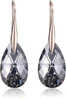Black Swarovski Crystal Earrings For Women, Ladies Friends Sterling Silver Hypoallergenic Drop Earring Jewelry
