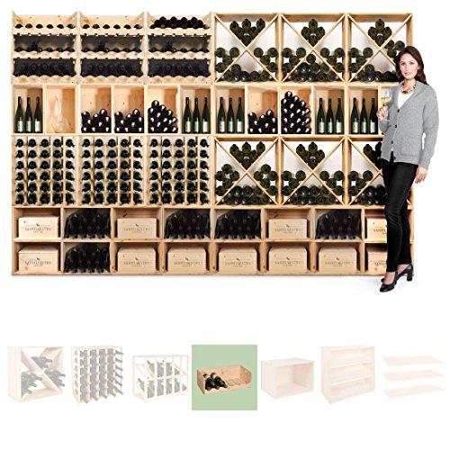 Weinregal/Weinlagerkiste VIVERI für 30 Fl, Holz Kiefer natur, stapelbar/erweiterbar - H 20 x B 60 x T 30 cm