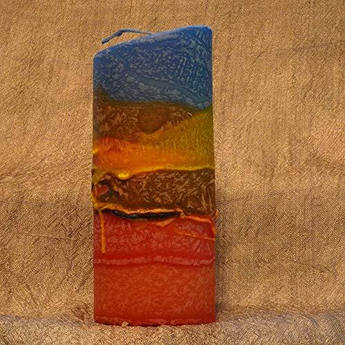 Ovale Kerze, bunte kristalline Glasur, gestaltet in Waldviertler Handarbeit, Höhe 16 cm, Abschiedsgeschenk Kollegin, Weihnachtsgeschenk