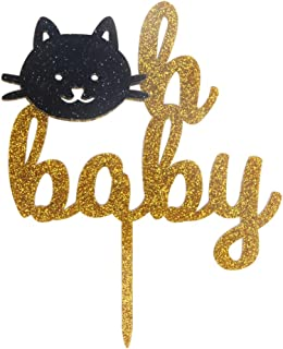 LOVELY BITON Oh Baby Acrylic Cake Topper of Two-Tone(Gold&Black) - Baby Shower Hawaiian Party Supplies Favors, Gifts and D...
