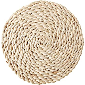 Keisl Coussinets en rotin dessous de plat rond en osier r/ésistant /à la chaleur fait /à la main support en rotin antid/érapant tapis de d/écoration moderne 8CM