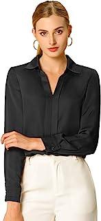 Allegra K Women's Office Elegant V Neck Blouse Long Sleeve Work Shirt