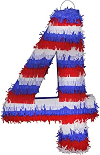 Lytio Patriotic American Flag Design Number 4 Pinata (Piñata) Designed for July 4 th and Memorial Day, Great for Party Game and Decoration.