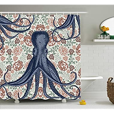 Ambesonne Kraken Shower Curtain Personalized Decor for Bathroom Octopus with Tentacles Floral Design and Flower Print Decorations Multicolor Decorations, Blue Beige Coral Mint Green