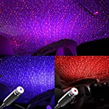 Star Projector Night Light, Booreina Auto Roof Star Lights LED USB Lights Interior Car Lights Romantic Ambient Lamp for Bedroom, Party, Car, Ceiling and Stage Decoration, Red and Violet Blue 2 Pack