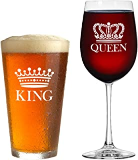 King Beer Queen Wine Glass Set of 2 - Gift for Couples - Valentine's Day Gift, Anniversary Gift, Newlyweds Gifts, Husband and Wife, His and Hers, Mr and Mrs Beer Mug + Vino Glass Housewarming Set