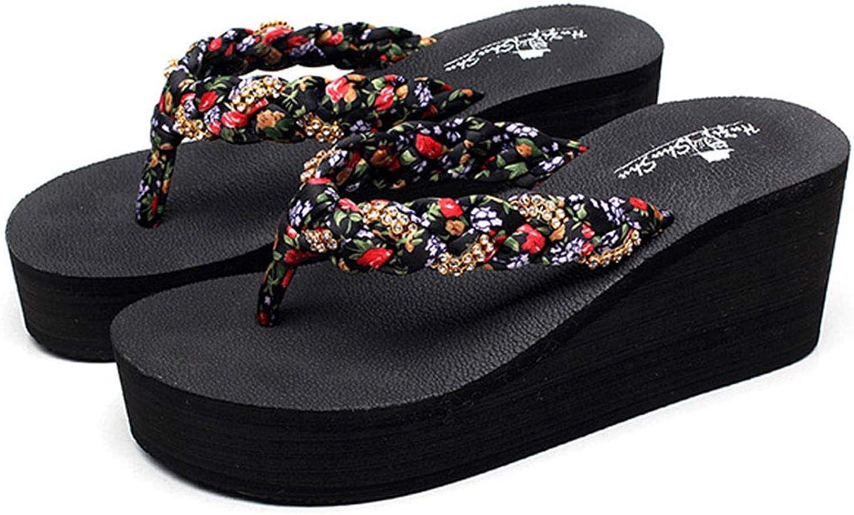 Black Open Toe Wedge Slippers Summer Outdoor Wedge Flip Flops,Beach Sandals Non-Slip with High Heels Sandals