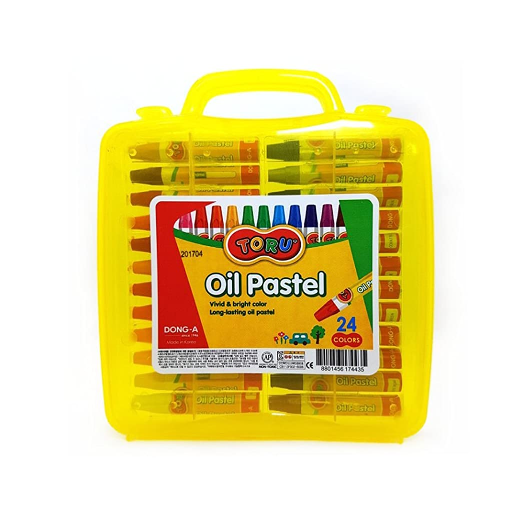 Dong-a Toru Oil Pastels Crayons Vivid & Bright Color Storage Case Non-Toxic art supplies for kids - 24 Colors