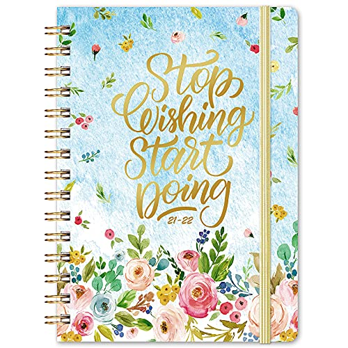 """Planner 2021-2022 - Academic Planner 2021-2022 Weekly & Monthly, Jul 2021 - Jun 2022, 6.37""""x 8.46"""", Monthly Tabs, Inner Pocket, Elastic Closure, Twin-Wire Binding, Improving Your Time Management Skill"""
