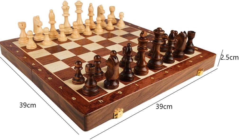 Taille : 39cm /Échecs en Bois Plateau d/échecs Pliable avec Plateau de Jeu d/échecs de Voyage de Stockage int/érieur Pliant Portable