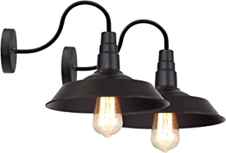 LNC Black Matte Wall Sconces 2 Pack Barn Vanity Lights, Gooseneck Lamp for Pathway, Bathrooms and Living Room A0224109