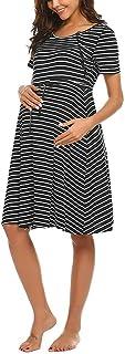 2019 Summer Pregnant Women Nursing Dress Clothes Short Sleeve Maternity Dress (Size:M, Black)
