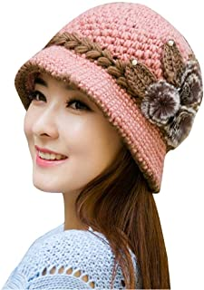 iYBUIA Special Women Lady Winter Warm Crochet Knitted Flowers Decorated Ears Hat