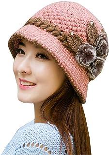 DBolomm Womens 1920s Winter Warm Cap Beret Beanie Cloche Bucket Hat Crochet Knitted Flowers Ears Hat