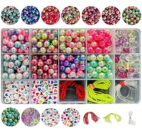 Pangaeawalker Cuentas redondas de perlas acrílicas para hacer pulseras, 480 piezas preciosas perlas de doble color imitadas y cuentas de corazón para hacer manualidades