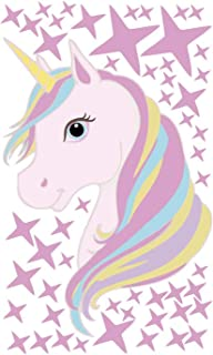 Unicorn Wall Decal Removable PVC Colorful Stars Wall Decoration 3D DIY Stickers for Girls Kids Boys Bedroom Decor Nursery ...