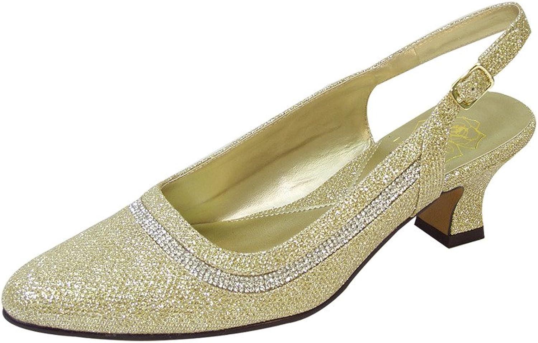 Floral FIC Priya Women Extra Wide Width Metallic Dress Slingback gold 8.5