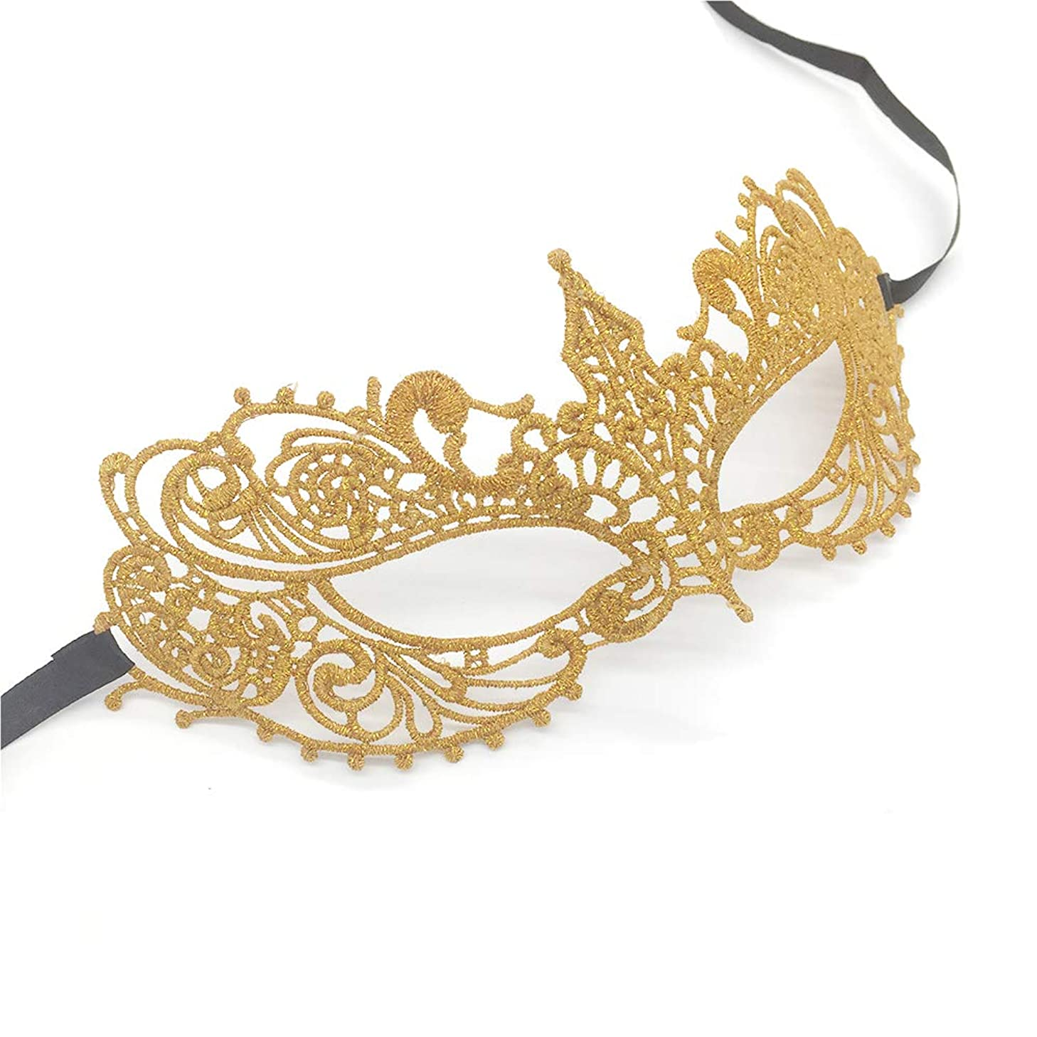 Gold Sexy Lace Masquerade Mask for Women on Carnival Ball, Exquisite High-end Lace Eye mask for Halloween Party