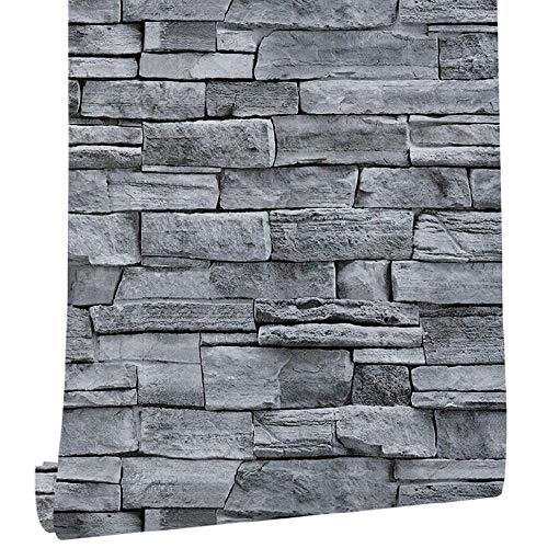 Fototapete selbstklebend 0.45mx6m 3D Tapete Wandtattoo dekorative Möbelfolie Dekorfolie Fotofolie Wandaufkleber Wandposter Wandsticker - Steinoptik grau Steinwand
