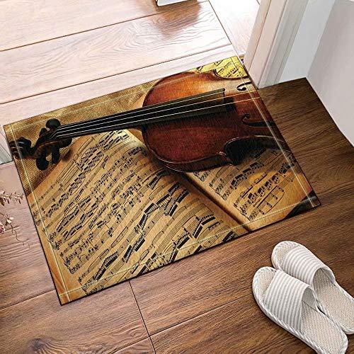 Muzikale decoratieve viool bladmuziek Kinderbadkamer tapijt toiletdeur mat woonkamer 50X80CM badkameraccessoires