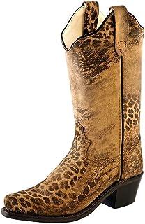 Old West Kids Boots Snip Toe Leopard Print (Toddler/Little Kid)