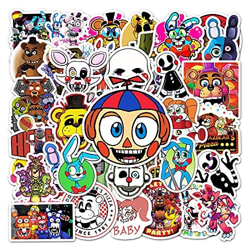 BUCUO Five Nights At Freddy's Game Cartoon Graffiti Stickers Notebook Fashion Account Hand Account Decorazione Adesivi per Auto 50 Pezzi