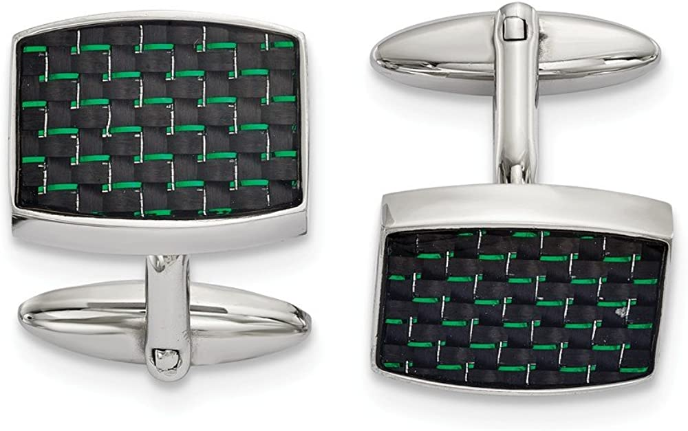 Stainless Steel Polished Black and Green Carbon Fiber Inlay Cuff Links (19.3mm x 22.7mm)
