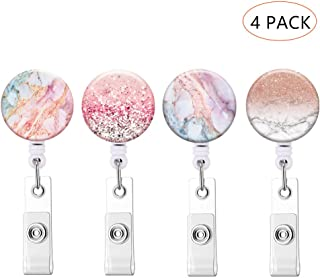 Retractable ID Badge Holder ID Badge Reels with Clip Retractable Badge Holder for Office Worker Doctor Nurse (Marble 4-1)