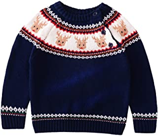 Baby Toddler Boys Girls Crew Neck Knit Sweater Christmas Deer Warm Cotton Casual Pullover Sweatshirt