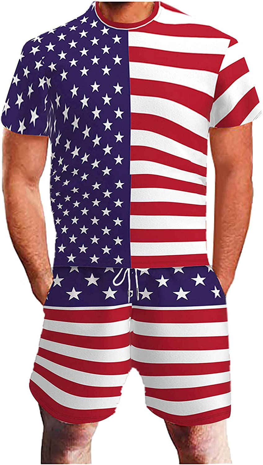 Beshion 4th of July American Flag Mens Rompers Jumpsuits Summer Bib Overalls Denim Shorts Jean Casual Workout Beach Jumpsuit