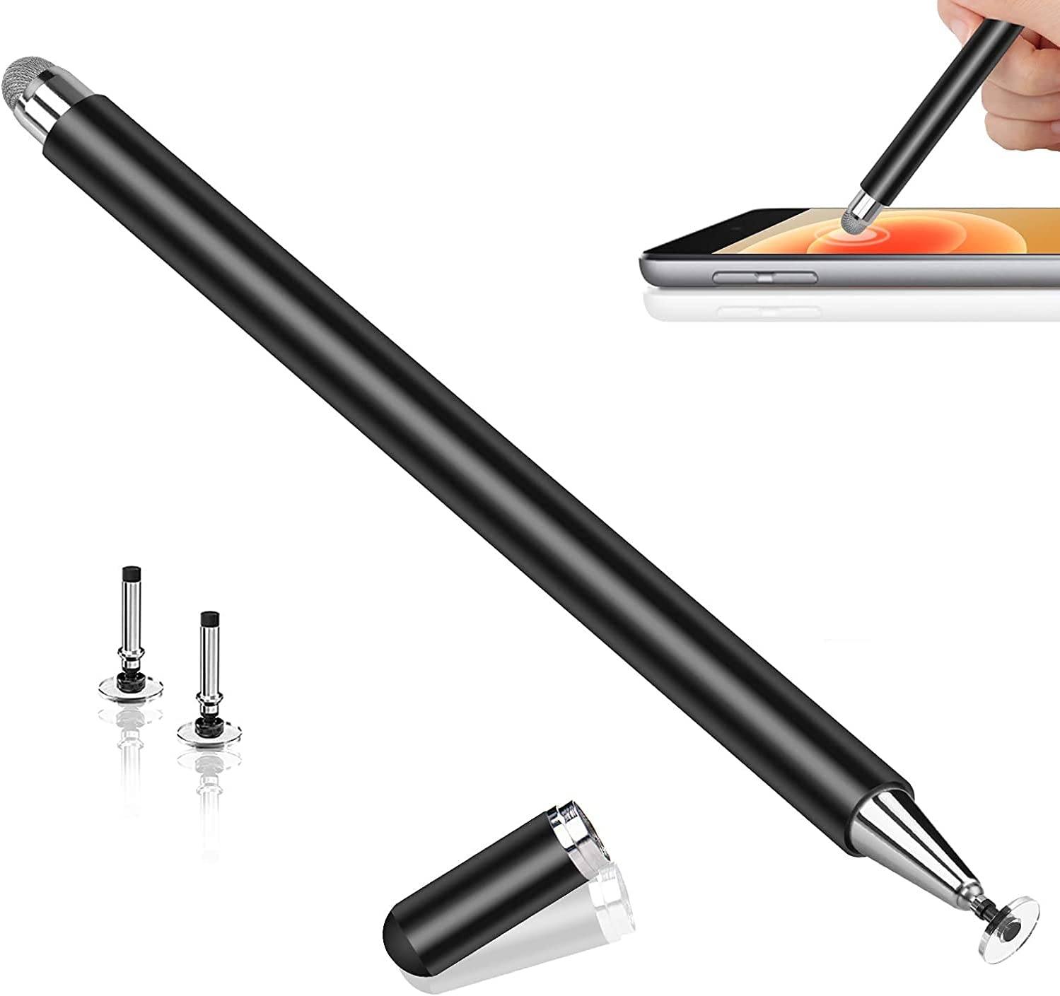 Stylus Pens for Touch Screens, Stylus Pen for iPad, Universal Touch Tablet Pencil with Magnetic Cap 3 Spare Tips for iPhone/iPad Pro/Mini/Air/Android/Microsoft Surface and Tablet Devices,