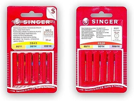 Singer Pack de 2 Paquetes de Agujas para Máquina de Coser Universales y para Punto (y Elásticos) 2020 2045 (822R - 848R) Surtido de Grosores Sistema 130/705 H