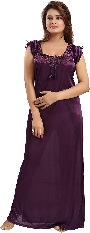 Be You Fashion Women Satin purple Solid Lace Nighty