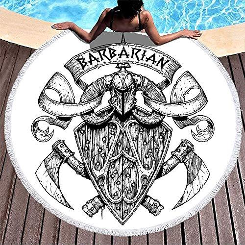 Nazi Mie Casco de Guerrero Vikingo nórdico Escudo Hachas Cruzadas Pintura bosquejada Toalla de Playa Redonda Manta de Playa Linda Envoltura de Playa Blanco