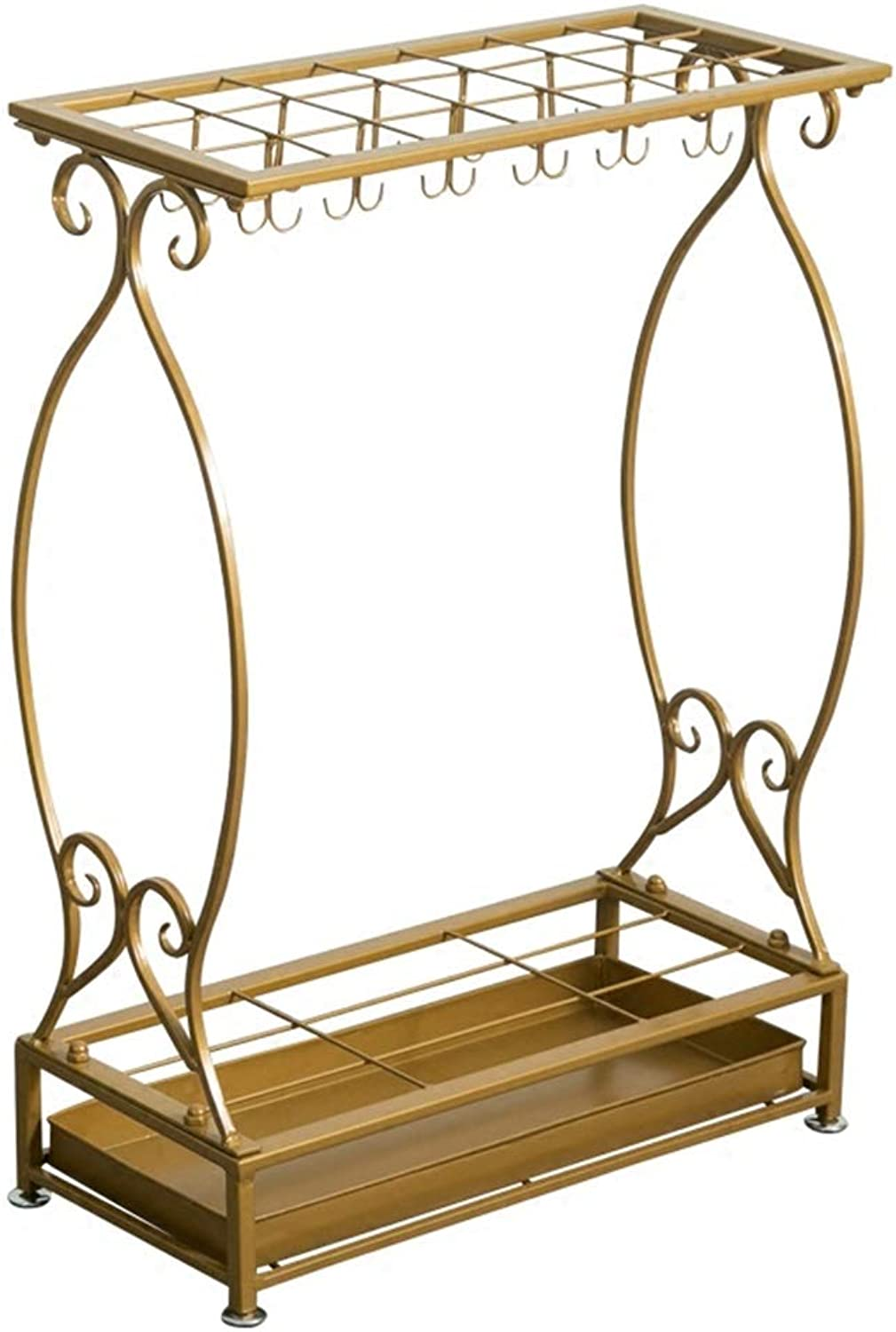 Zr Large-Capacity Multifunctional Simple Wrought Iron Umbrella Stand Fashion Firm Hotel Family Rainy Day Essential Storage Rack (color   gold)