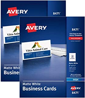 Business Cards 8471 two pack, Matte White, Inkjet Printers, Heavyweight, 234 gsm, professional-looking, 2