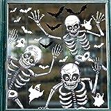 Svanco 10 Hoja Pegatinas de Ventana Halloween Decoración Doble Cara Pegatinas de Cristal Extraíbles Esqueleto Pegatinas para Fiesta Estáticas Pegatinas Terror Araña Murciélago Calcomanías