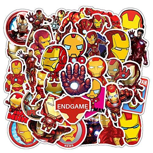 LVLUO Disney Iron Man Avenger Pegatina PVC Impermeable portátil monopatín Equipaje Guitarra Casco Pegatina Juguete para niños 35 Uds