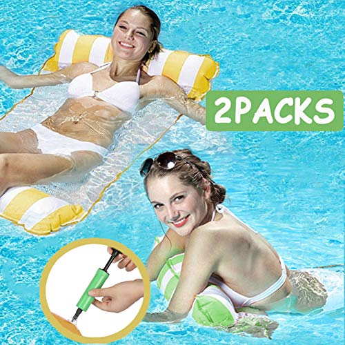 QWERDF 2 Packs Water Hammock,Swimming Pool Inflatable Pool Float 4-In-1 Multi-Purpose Rafts Floating Chair Pool Float with Air Pump for Adults And Kids,a