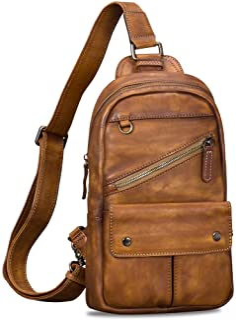 کیف بسته بند چرمی اصل برای مردان Vintage دستباف Crossbody Daypack